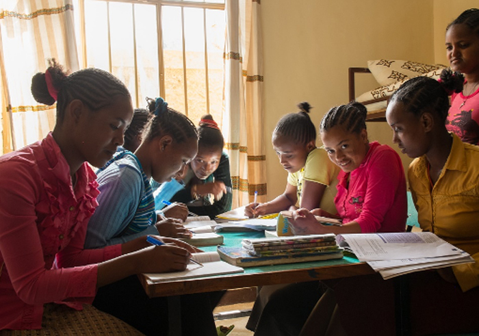 Girls studying in the boarding house we built for them in Addis Alem